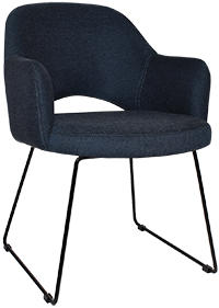 ARM CHAIR ALBURY SLED BLACK + GRAVITY NAVY