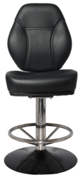 GAMING STOOL CAIRO DISC POLISHED S/S + VINYL BLACK