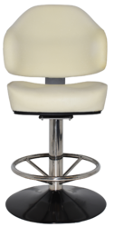 GAMING STOOL LUXOR DISC POLISHED S/S + UNUPHOLSTERED