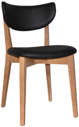 CHAIR RIALTO UPH 2 LIGHTOAK - VINYL BLACK